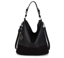 Kabelka Anna Grace Black Hobo Bag With Black Metal Work