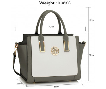 Kabelka Grey / White Tote Bag With Long Strap