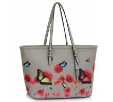 Kabelka Grey Large Butterfly Print Tote Bag