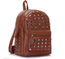 Batoh Brown Unisex Studded Rucksack