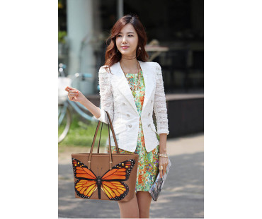 Kabelka Nude Colorful Dragonflies Print Tote Shoulder Bag
