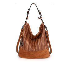 Kabelka Anna Grace Brown Hobo Bag With Black Metal Work