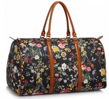 Cestovní taška LS Fashion Black Floral Weekend large travel Bag