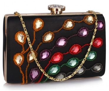 Psaníčko Black Satin Clutch Evening Bag - černé