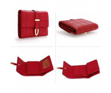 Peněženka Burgundy Flap Purse/Wallet With Gold Metal Work