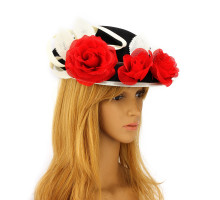 Klobouček Red / Black / Ivory Flower Hat Fascinator