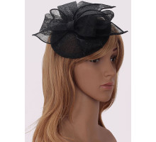 Ozdoba do vlasů Black Mesh Hat Feather Fascinator