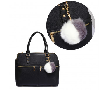Přívěsek Grey / White Faux Fur Bag Charms