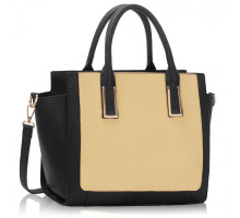 Kabelka Black / Beige Tote Bag With Long Strap