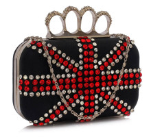 Psaníčko Black Women's Knuckle Rings Evening Bag