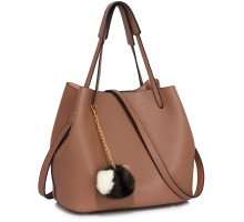 Kabelka Nude Hobo Bag With Faux-Fur Charm
