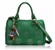 Kabelka Green Skull Diamante Tote Bag With Charm