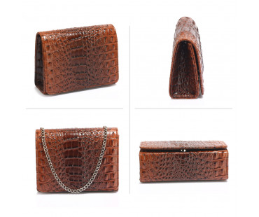 Psaníčko Coffee Crocodile Flap Clutch Purse