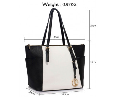 Kožená kabelka White /Black Genuine Leather Tote Shoulder Bag
