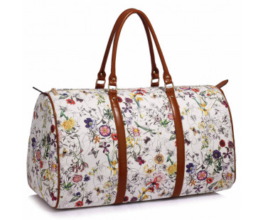 Cestovní taška LS Fashion White Floral Weekend large travel Bag