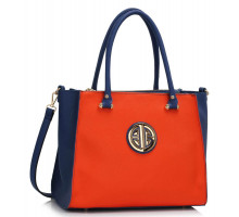 Kabelka Blue / Orange Three Zipper Grab Bag