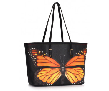 Kabelka Black Colorful Dragonflies Print Tote Shoulder Bag
