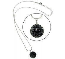 Náhrdelník Black Sparkling Disco Ball Necklace