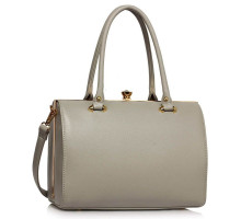 Kabelka Grey Structured Metal Frame Top Handbag