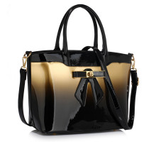 Kabelka Gold Patent Two-Tone Bow Front Handbag