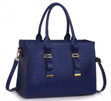 Kabelka Navy Buckle Detail Tote Shoulder Bag - modrá