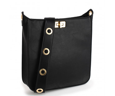 Kabelka Anna Grace Black Twist Lock Cross Body Bag