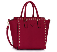 Kabelka Burgundy Studs Decorated Tote Bag - vínová