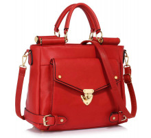 Kabelka Red Twist Lock Flap Grab Tote