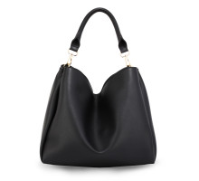 Kabelka Black Hobo Shoulder Bag With Gold Metal Work