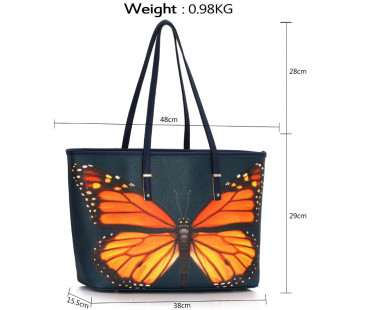 Kabelka Navy Colorful Dragonflies Print Tote Shoulder Bag