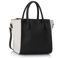 Kabelka L&S Fashion White/Black Fashion Tote Bag