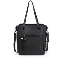 Kabelka Black Front Pocket Tassel Shoulder Bag With Black Metal Work