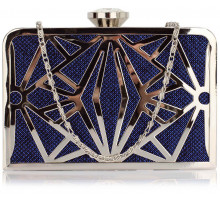 Psaníčko Blue Hard Metal Box Clutch - modré