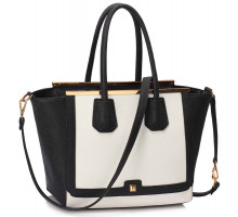 Kabelka Black /White Metal Frame Grab Tote