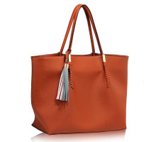 Kabelka L&S Fashion Brown Tassel Charm Shoulder Bag