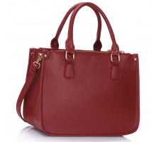 Kabelka 3 top Zip Burgundy Tote Handbag