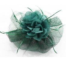 Ozdoba do vlasů Green Feather & Flower Fascinator on Comb