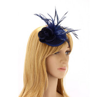 Ozdoba do vlasů Navy Feather & Flower Mesh Hat Fascinator