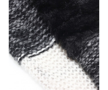 Šála Black Women's Faux Fur Trim Winter Scarf