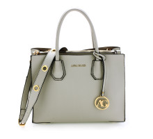 Kabelka Anna Grace Grey Grab Tote Handbag With Gold Metal Work - šedá