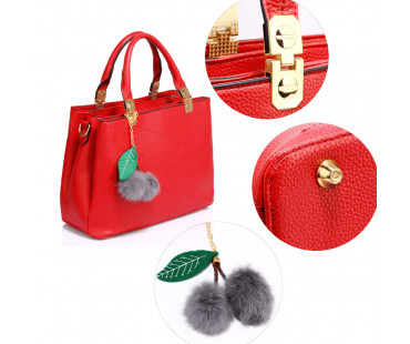 Kabelka Red Tote Shoulder Bag With Faux-Fur Charm