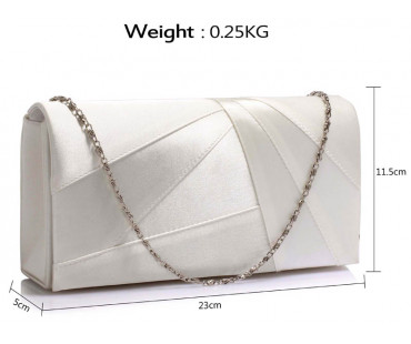 Psaníčko Ivory Satin Clutch Evening Bag - bílá