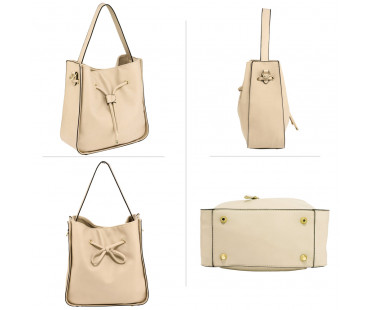 Kabelka Nude Drawstring Tote Bag With Pouch - tělová