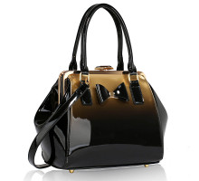Kabelka Gold Patent Bow Framed Satchel