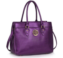 Kabelka Purple Metal Detail Grab Tote Handbag