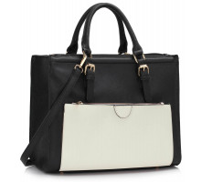 Kabelka Black / White Front Pocket Grab Tote Handbag