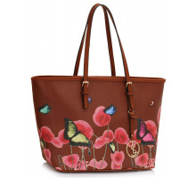 Kabelka L&S Fashion Brown Large Butterfly Print Tote Bag