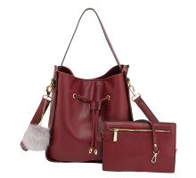 Kabelka Burgundy Drawstring Tote Bag With Pouch