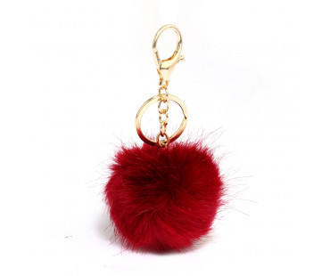 Přívesek na kabelku Burgundy Fluffy Bag Charms