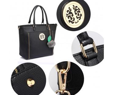 Kabelka Anna Grace Black Tote Bag With Faux-Fur Charm